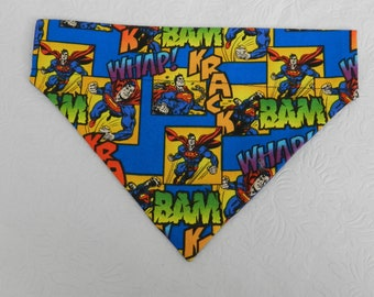 Dog/Cat/Ferret-Reversible 2 in 1 Over the Collar Super Hero Comic Book SUPERMAN Bandana. Custom made just for YOU and your pet