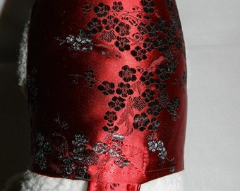 Black & Red Satin Kimono Asian Brocade Harness Dress. Perfect Item for your Cat, Dog or Ferret. All Items Are CUSTOM Made For Your Pet.