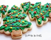 Christmas Tree Cookies, Christmas Cookies - 1 Dozen