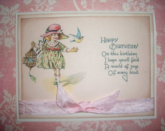 Birthday Card - Vintage style - Envelope and Sticker Seal