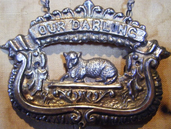 RESERVED FOR T Our darling Victorian necklace funeral mourning lamb religious antique one of a kind assemblage
