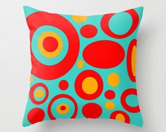 Blue Pillow,Mid Century Modern Pillow, Circle Pillow,Retro  Pillow, Cool Pillow, Mod Cushion, Modern Pillow, Modern Cushion