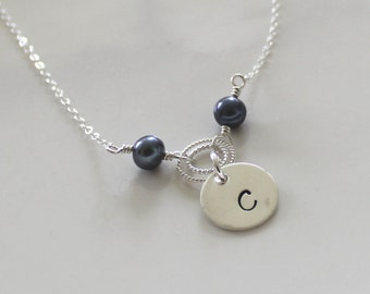 Hand stamped initial necklace - peacock blue freshwater pearls - personalized jewelry - bridesmaid gift - wedding party