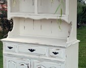Vintage Hutch and Buffet in White