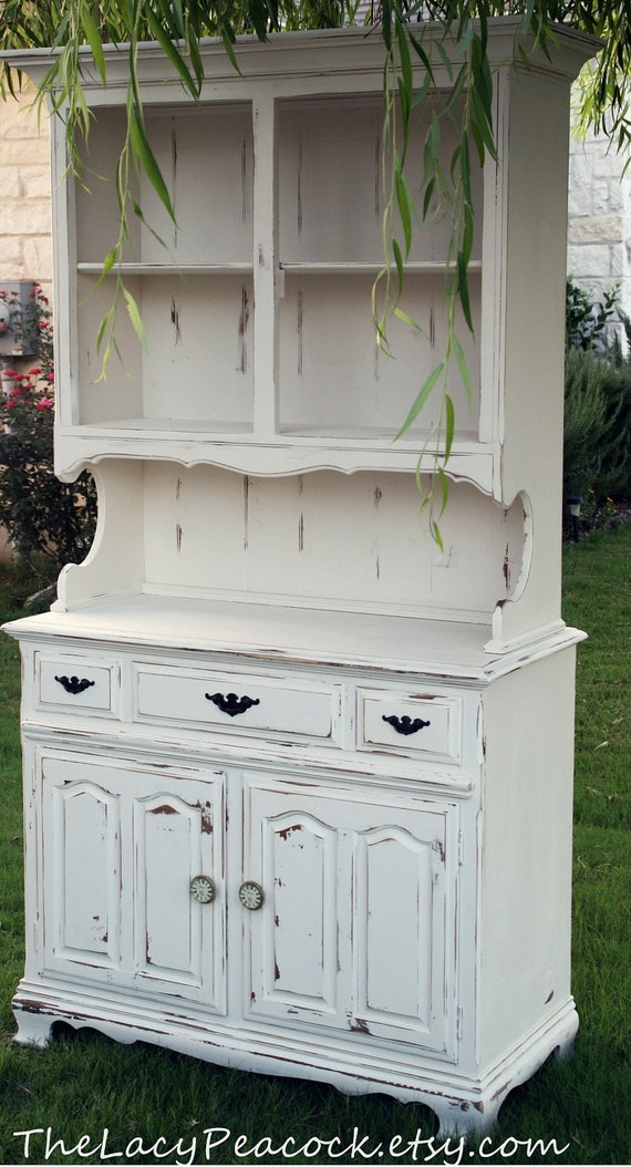 Items similar to Vintage Hutch and Buffet in White on Etsy