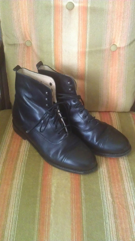 Black Leather Ankle Boots Size 8 by Gap