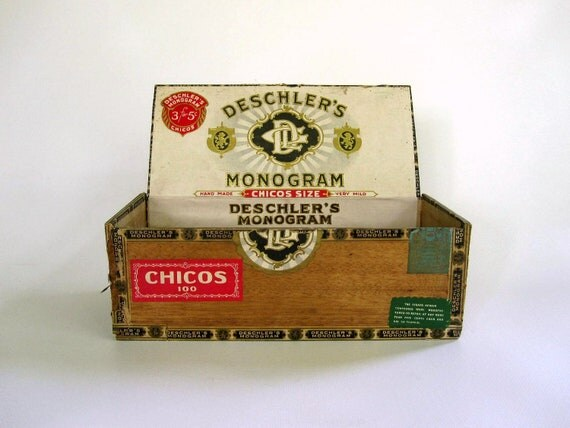 Vintage Cigar Box Wooden - Red Green Ivory Gold - Deschlers Monogram