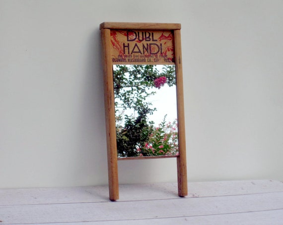 Wooden Wall Mirror - Laundry Room Washboard Mirror - Farmhouse Decor