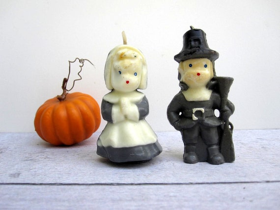 Vintage Pilgrim Candles - Black and White Thanksgiving Decor