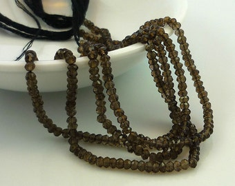 pretty dark smoky quartz faceted rondelles 2.5-3mm 1/4 strand