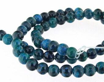 Superb Round Malachite Azurite Gemstone Beads 6mm One Strand