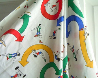 Olympian Inspired Vintage Fabric- Olympics- Sports Themed Vintage Fabric- 2 Yards