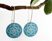 mandala dangle earrings - aqua flower drop - shrinky dink jewelry - lightweight plastic