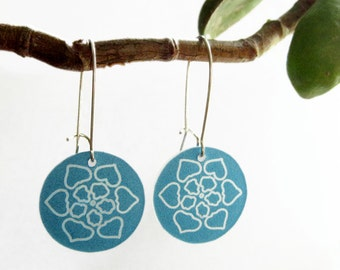 mandala dangle earrings - aqua flower drop - shrinky dink jewelry - lightweight plastic
