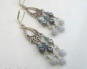 Chandelier Earrings with Chalcedonay and Mystic Quartz