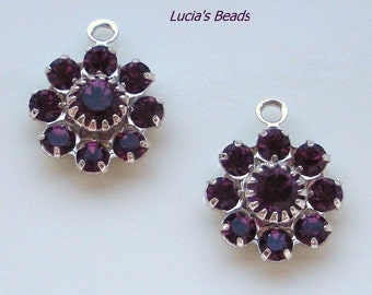 NEW GORGEOUS Set of  (4) Swarovski Crystal 10MM Components in Amethyst