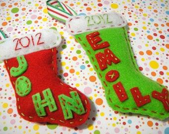 Handmade Custom Felt Stuffed Christmas Stocking Ornament: Personalized For You