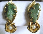 Vintage Jade Floral Pearl Earrings