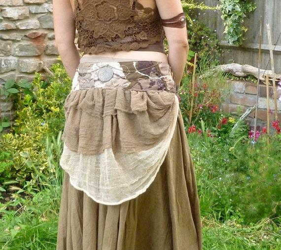 Steampunk Bustle Skirt / Belt With Eco Patchwork Wastenot Waistband