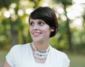 milky opaque white briolette with brass and ivory necklace - bridal