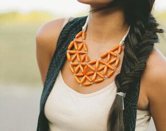 orange rice wood geometric mosaic necklace