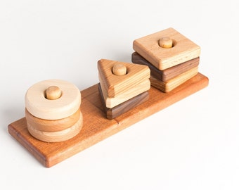 Wooden Toy Shapes Stacker in Alder (Waldorf, Natural, Developmental, Wood Toy)