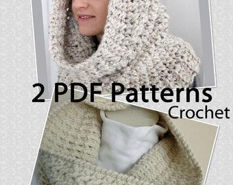 2 PDF PATTERNS Crochet Neck Warmers, Hooded Cowls