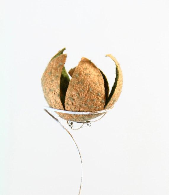 Nuno felted 3D flower brooch pinback pin tangerine orange copper