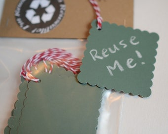 Chalkboard Tags, Chalk Gift Labels, Reuseable Green Hang Tag, Reusable Set of Ten Cardstock Tags
