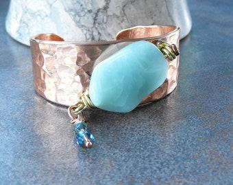 Copper Statement Cuff, Hammered Copper Cuff, Beaded Copper Cuff, Artisan Jewelry