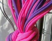 Infinity Scarf - 28-inch - Hot Pink and Purple-Color w/purple binding