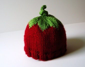Cherry Berry Knit Hat with Ribbed Edge - Infant