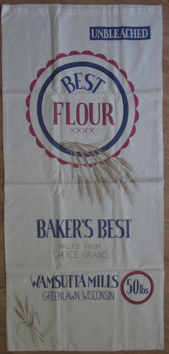 Vintage Advertising Feedsack BAKERS BEST Flour Bag Nice Condition