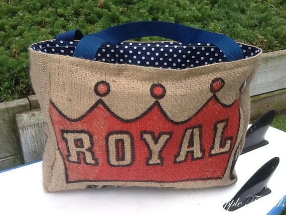 Recycled Tote Bag Handmade from a Coffee Sack Mexico Royal Coffee Eco-Friendly