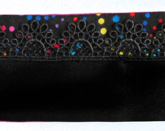 Colored polka dots and black fabric cuff bracelet