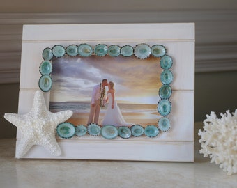 Starfish and Limpet Shell White Washed Bead Board Frame - 4x6 Photo - Beach Decor - Beach Wedding
