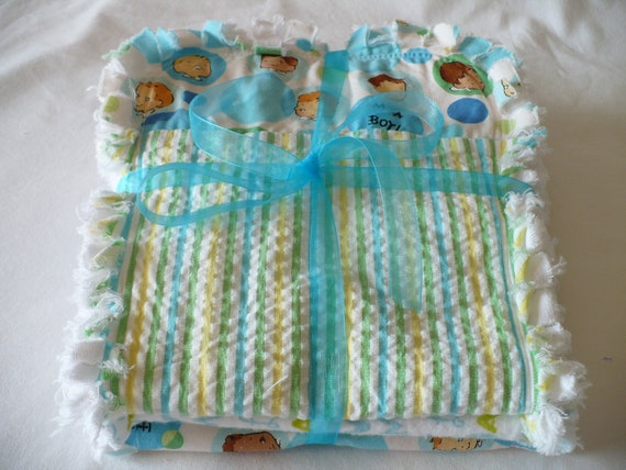 Baby Boy Chenille Burp Cloth Set of Three- Retro Blue and Green Rag Quilt