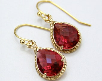 Sicily.  Ruby Faceted Glass Briolette Earrings in Fancy Gold Setting