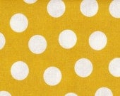 SALE Yellow Mustard & White Polka Dots  Modern Apparel Quilting    Cotton fabric.