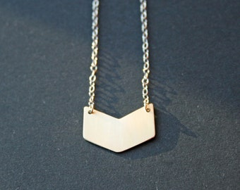 Chevron Necklace in Brass or Sterling Silver