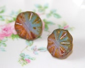 Vintage Czech Glass Picasso Aqua Brown Round Etched Design Post Earrings