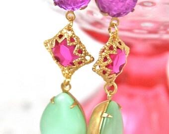 Vintage Mint Green Pear Tear Drop Pink Square Gold Rhinestone Purple Round Dangle Drop Tear Drop Earrings - Statement, Wedding, Bridal