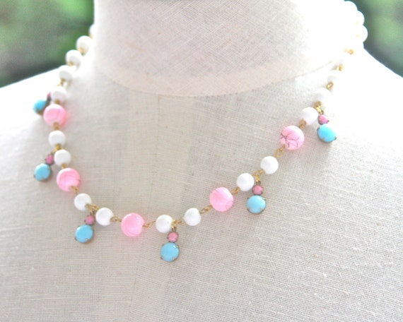 Aqua Blue and Pink Statement Necklace -  Pink and Blue White Glass Bead Necklace - Wedding,Bridesmaids,