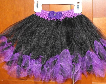 Black and Purple Princess Tutu with Detachable Hair Clip Bow
