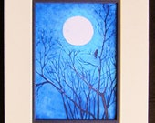 Blue  Raven Crow Giclee Signed Art Print  5 x 7 includes mat