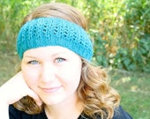 Lace Knit Headband in Mermaid - Made to Order