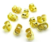 100PCS 5mmx 3.6mm Gold tone metal earrings back stopper earnuts stud (1-12-33)