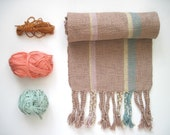 Handwoven Cotton Scarf Cotton - Fall Accessory Tan Sage Colors by Sameheart Designs
