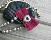 Classic Lolita magenta Lace Barrette Bow with Rhinestone heart pin