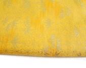 Silk Road Fabric Yellow Tonal with Metallic Gold Lotus and Star Stampings Last Yard